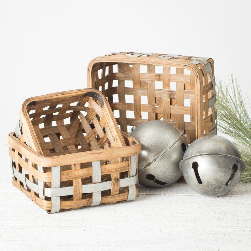 Wayfair Bushel 3 Piece Bamboo Basket Set Bamboo Basket Basket Sets Decorative Accessories