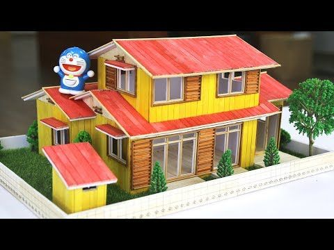 How to make a Popsicle stick Doreamon House