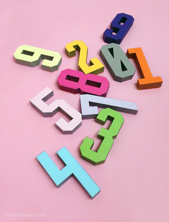 3d Number Paper Craft Templates By Mr Printables 3d Papier Karton