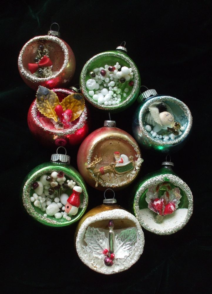 8 Vintage Mercury Glass Diorama Indent Scene Christmas Tree Ornaments Japan Vintage Christmas Decorations Vintage Mercury Glass Ornaments Ornaments
