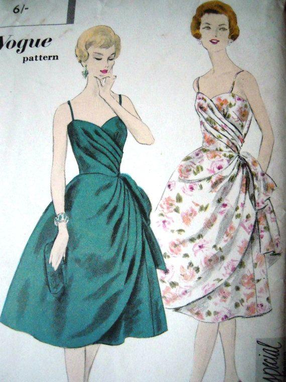 Vintage 1950s Vogue Rare 4010 Evening Drape Dress Overskirt B 34 ...