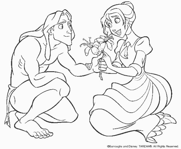 Disney Cartoon Characters Coloring Pages Tarzan And Princess