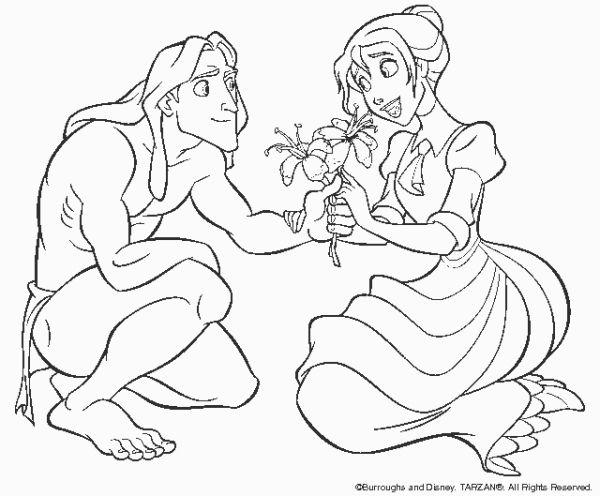 Disney Cartoon Characters Coloring Pages Tarzan And Princess 1097668 Jpg 600 496 Kleurplaten Kleuren Disney