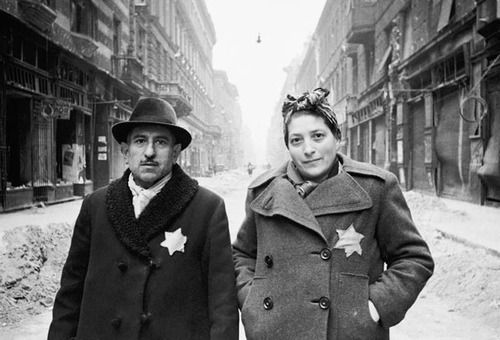 Hungarian Jews wearing the mandatory yellow Star of David, 1944 #WWII  #History via history.com | World war, Jewish history, World war two