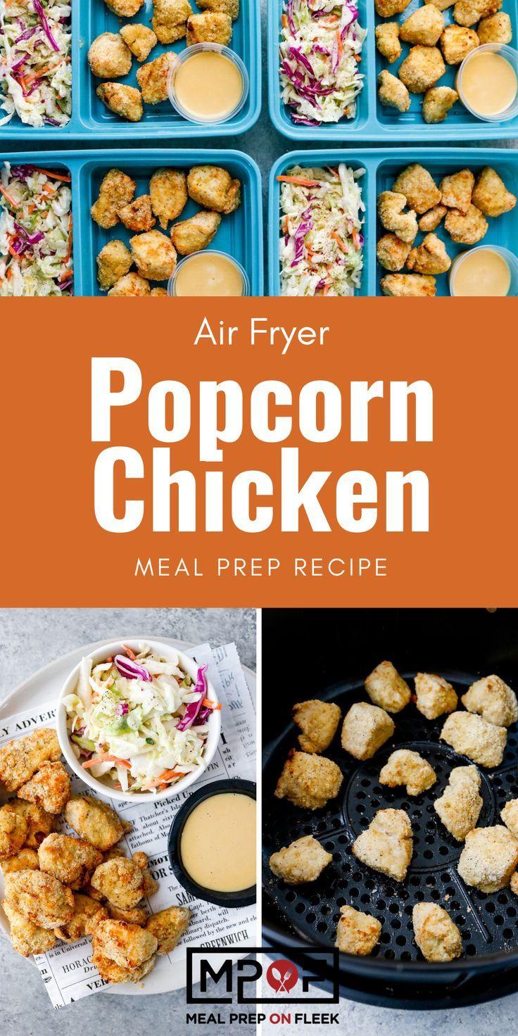 Air Fryer Popcorn Chicken with Coleslaw Recipe Chicken