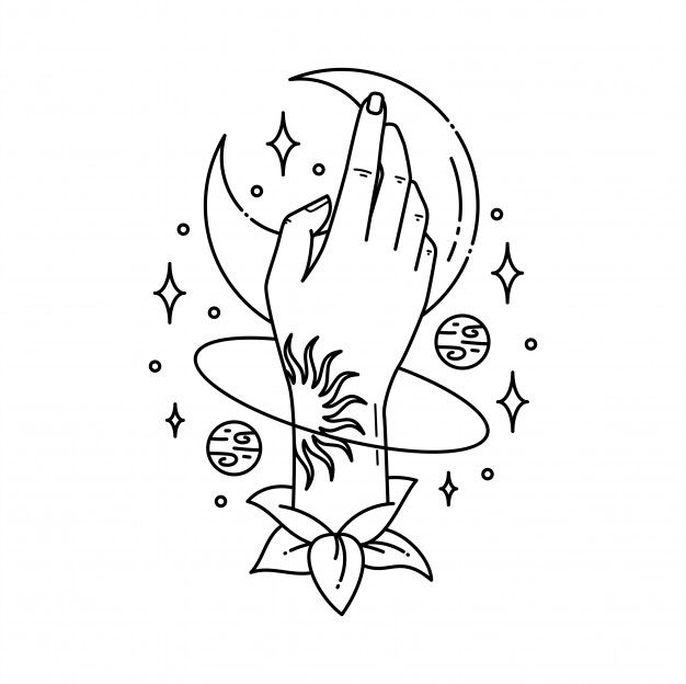 Hand in universe illustration Premium Ve...   Premium Vector #Freepik #vector #hand #moon #star #drawing