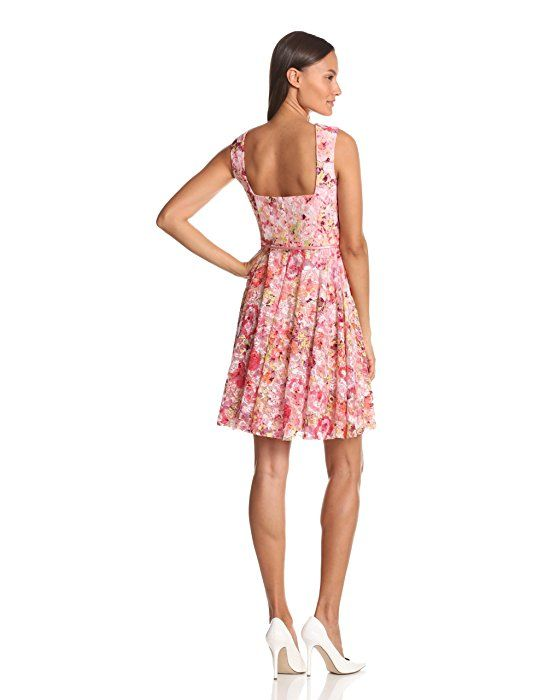 Maggy London Women's Printed Lace Cap Sleeve Dress, Coral, 12