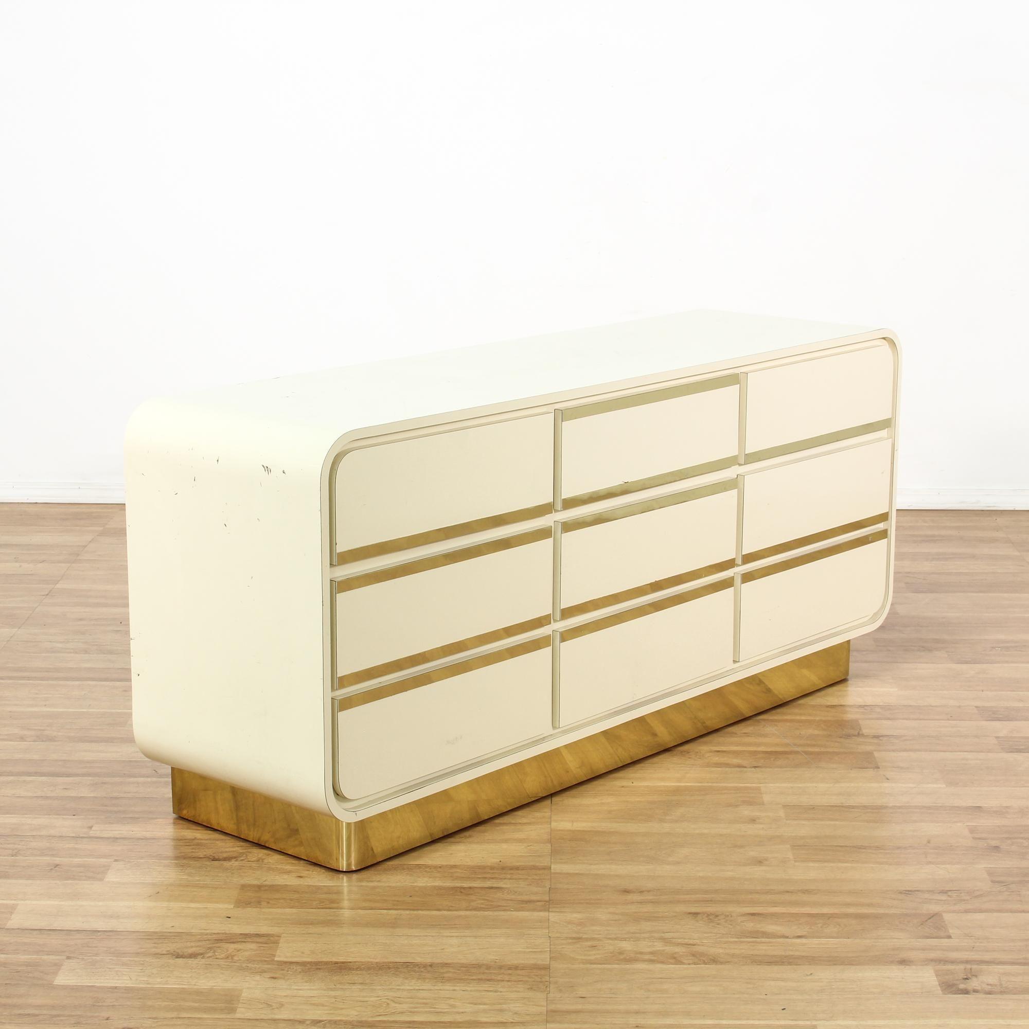 Incroyable Contemporary White U0026 Brass 9 Drawer Long Dresser | Loveseat Vintage  Furniture San Diego U0026 Los