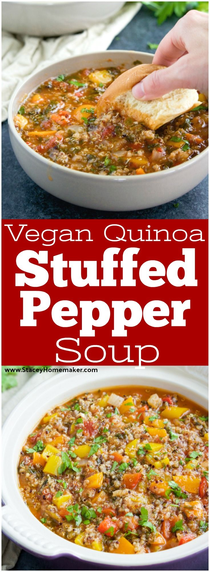 This Easy Stuffed Pepper Soup Recipe Has Everything You Love About Stuffed Peppers Without All The Fuss No Stuffed Peppers Stuffed Pepper Soup Vegan Crockpot