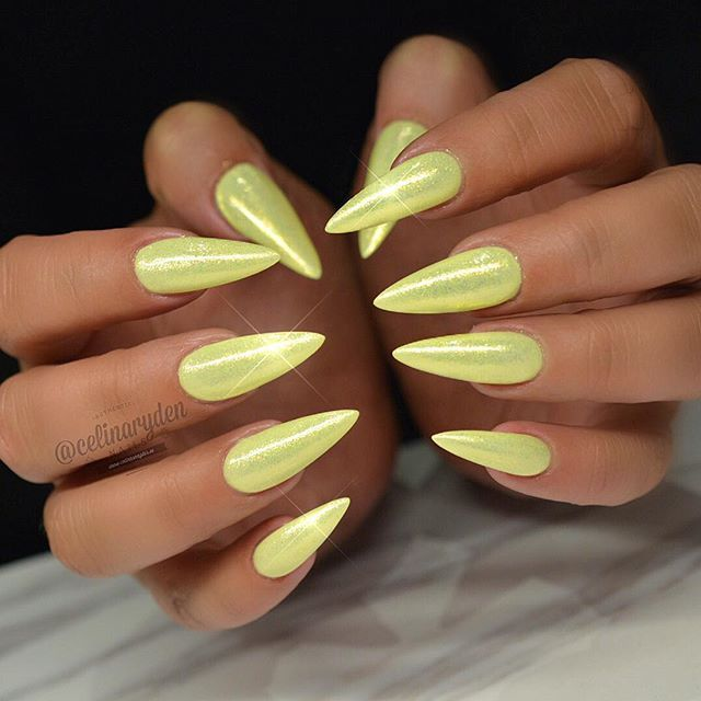 Glittery Yellow Stiletto Nails Putting On The Glitz Makeup And Fashion With Glitter Sequins