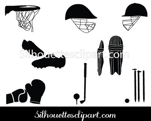 Sports Items Silhouette Vector Download here