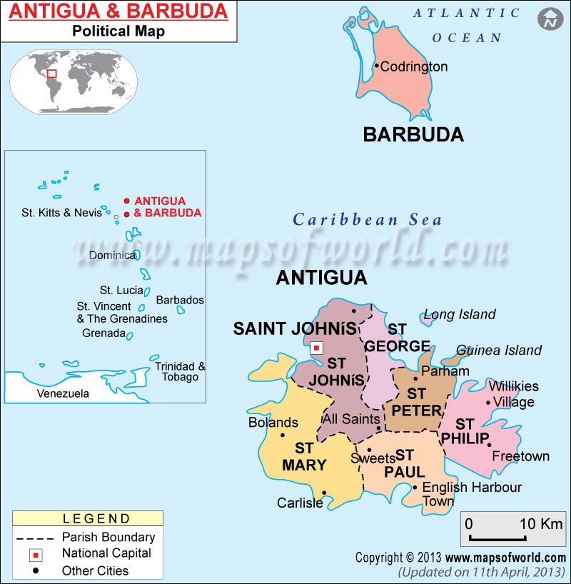 Political Map of Antigua and Barbuda in 2019 | Antigua ...