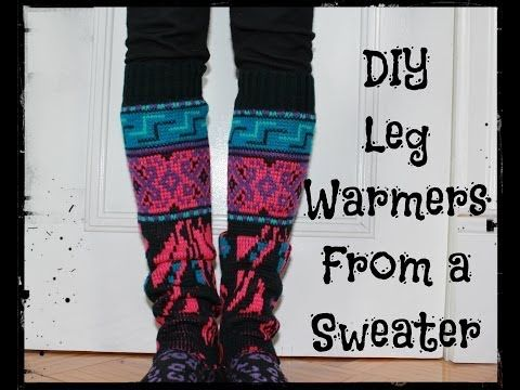 Blue patterned legwarmers made from Acrylic and wool recycled sweaters.