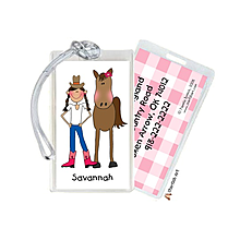 Cowgirl Lugage Tags from RockPaperScissors; cute party favor