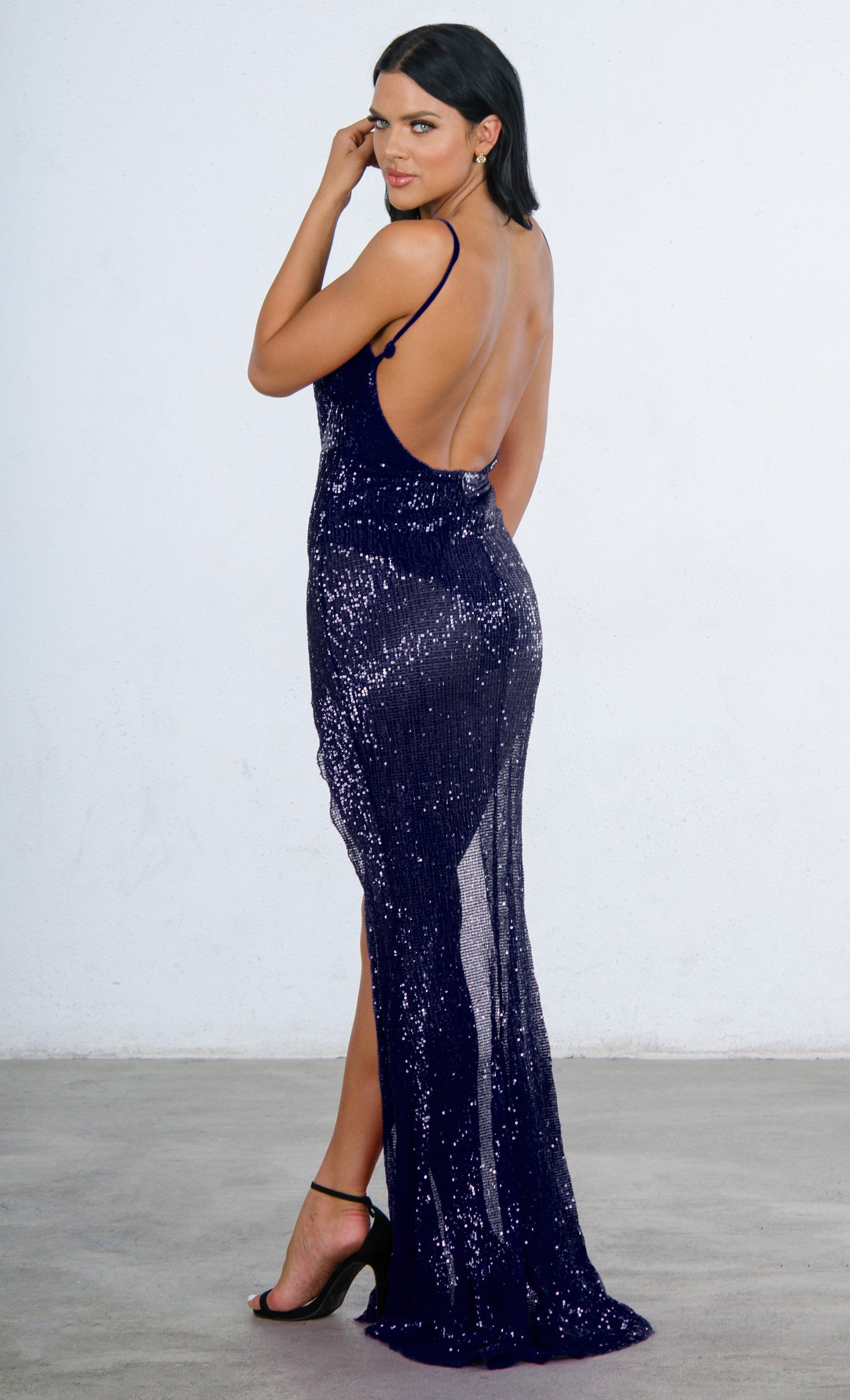 290221f3575 Indie XO Mystery Girl Blue Sequin Sleeveless Spaghetti Strap Plunge V