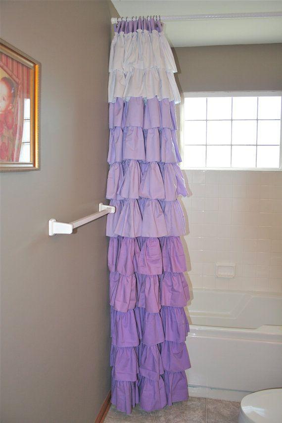 Shower Curtain Purple Ruffled