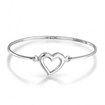 Simple heart bangle bracelet