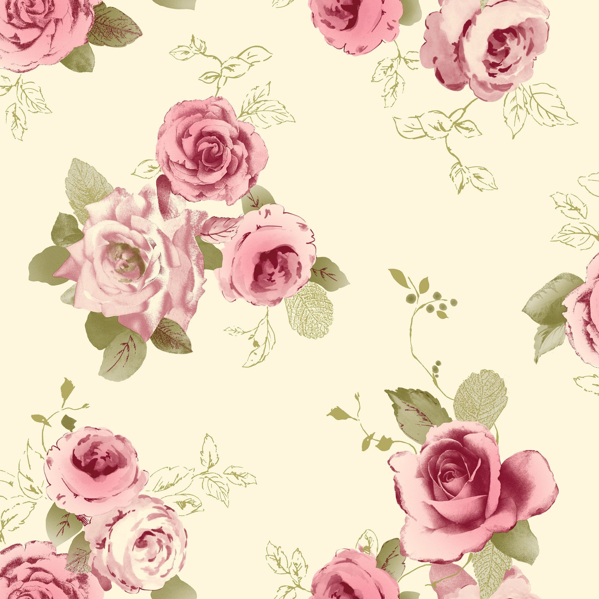 Arthouse Vintage Nicky Cream Green Pink Rose Wallpaper Departments Diy At B Q Floral Wallpaper Rose Wallpaper Wallpapers Vintage