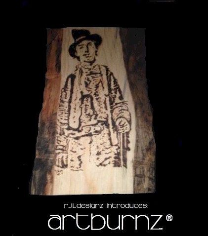 "Original HandCrafted 8"" X 12"" Contemporary Fine Art Wood Burning of BILLY the KID titled ""AKA"" by Rick Long. by RJLDesignz on Etsy"