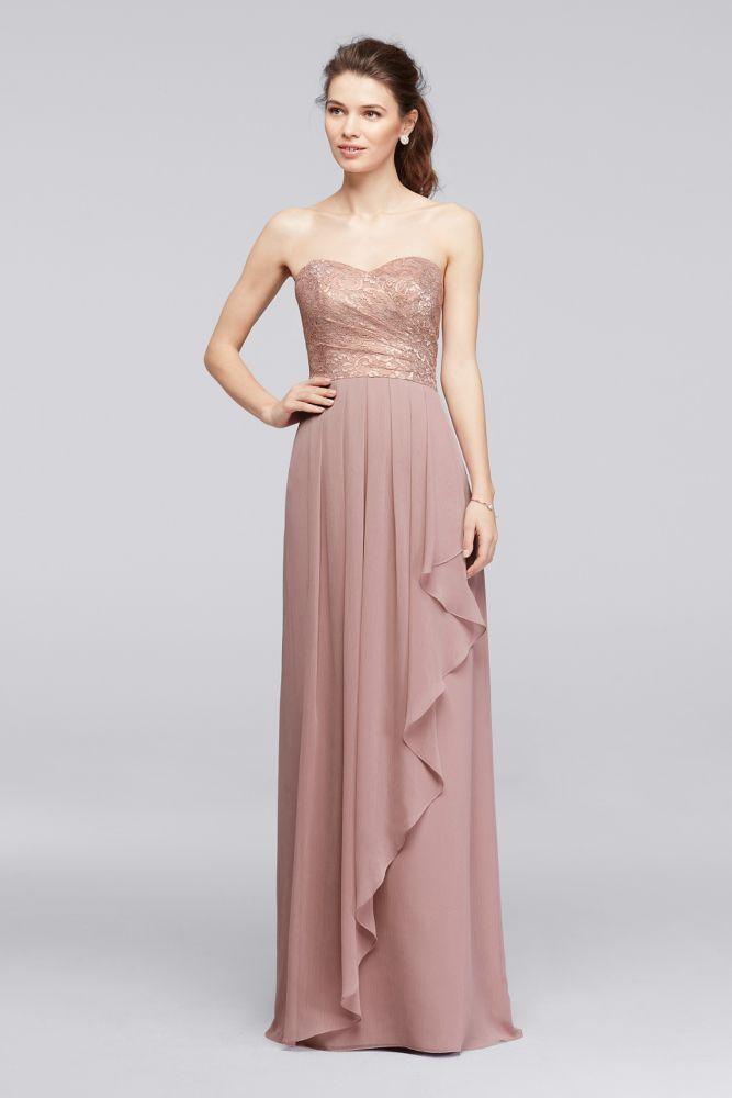 Lace Long Sweetheart Metallic Ruffled Bridesmaid Dress Rose Gold Metallic 14 Gold Bridesmaid Dresses Bridesmaid Dress Styles Bridesmaid Dressing Gowns