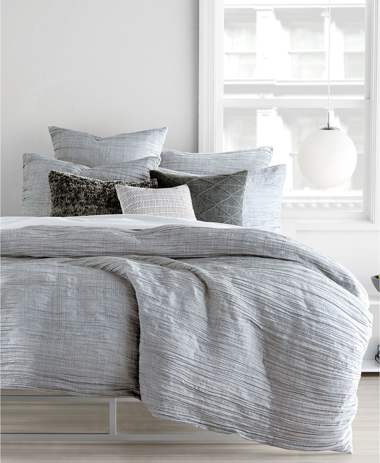 Dkny City Pleat Gray Full Queen Duvet Cover Bedding Collections Bed Bath