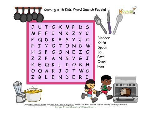 Word search puzzle with 7 kitchen and cooking words for children ...