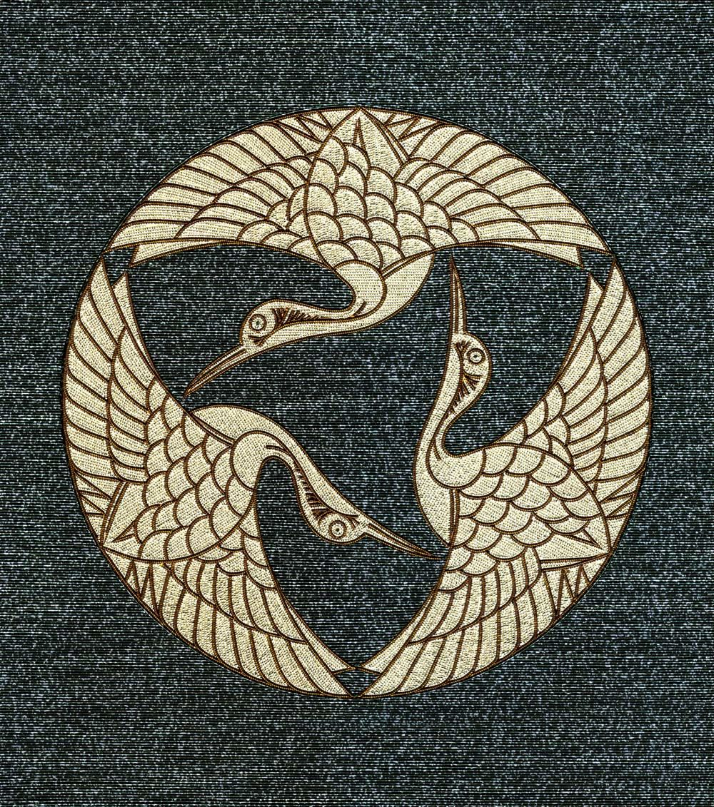 Tsurumon Three Cranes Mizuhiki Kamon Family Crest Illustration
