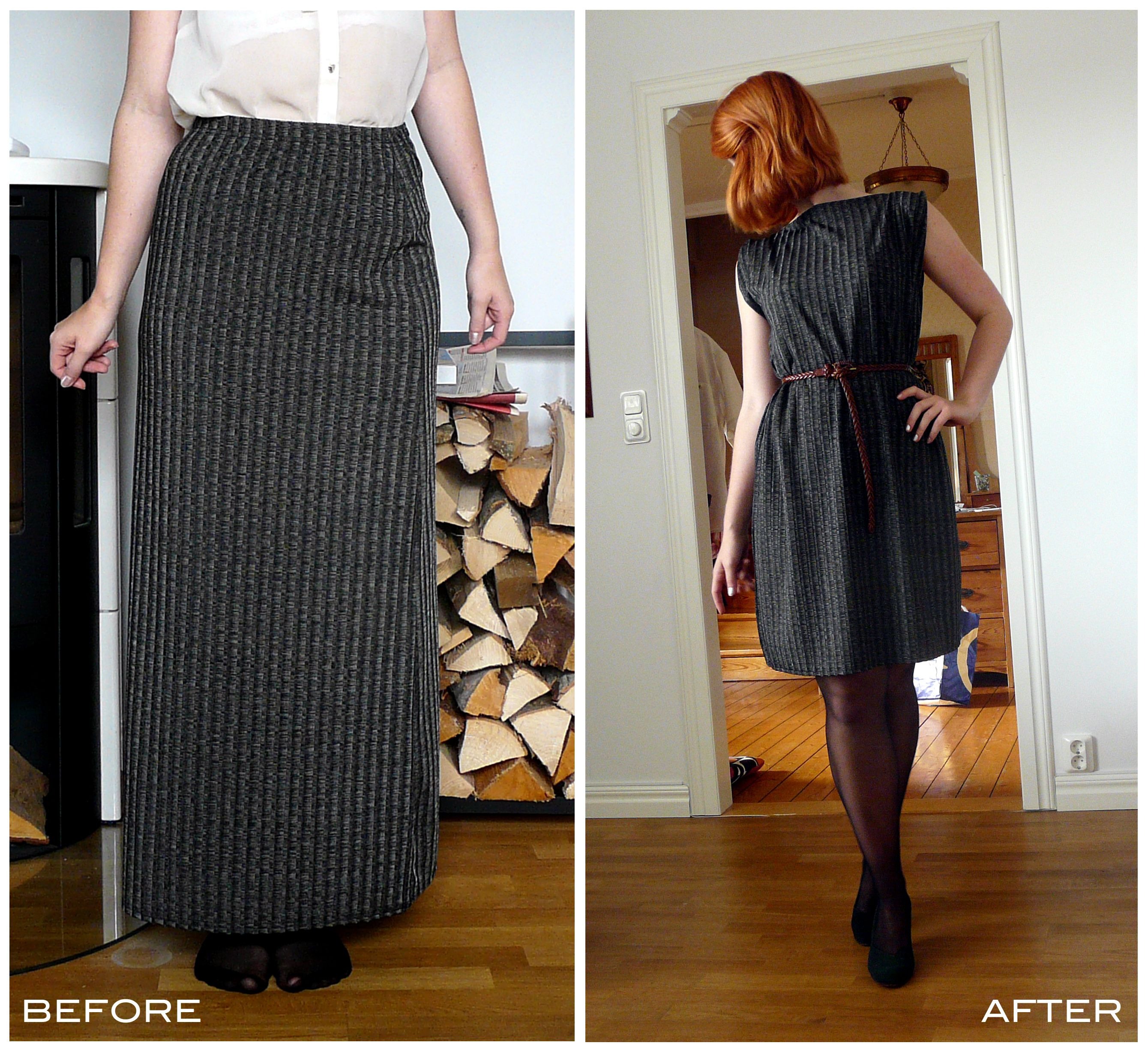 DIY, refashion, recycle remake youre old clothes: Make an old skirt to a dress