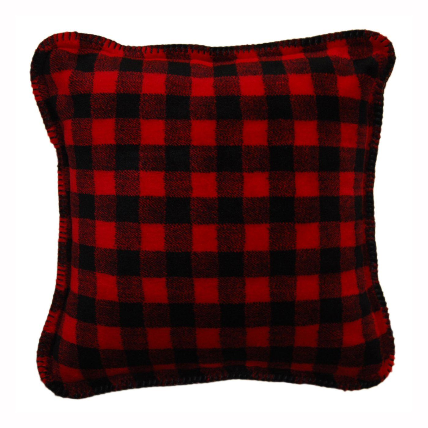 Plush Buffalo Plaid Rug: Denali Home Red Black Buffalo Check Decorative Pillow