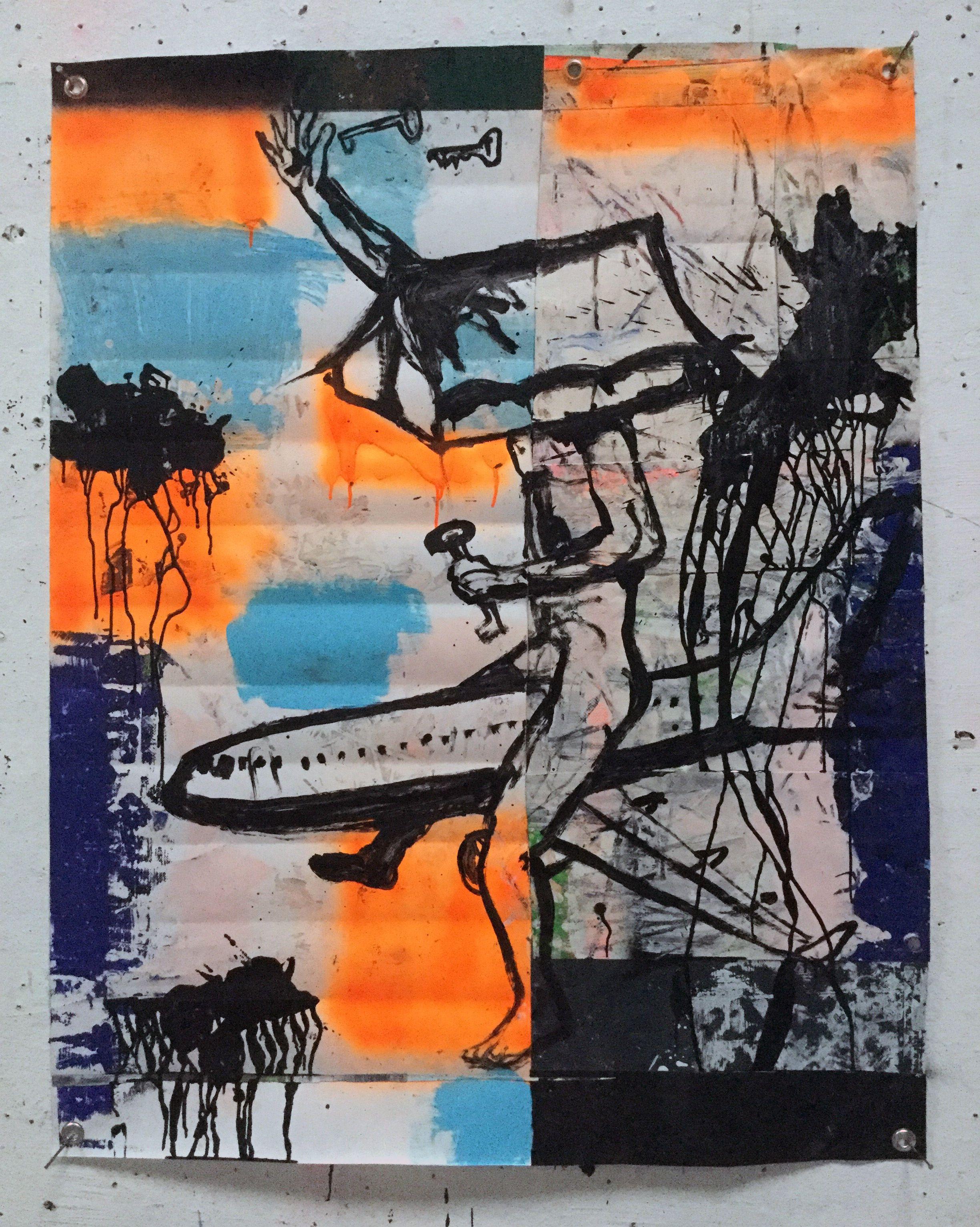 Hermann Josef Hack CLIMATE RIDE, 160129, painting and spray paint on tarpaulin, 129 x 101 cm, 2016