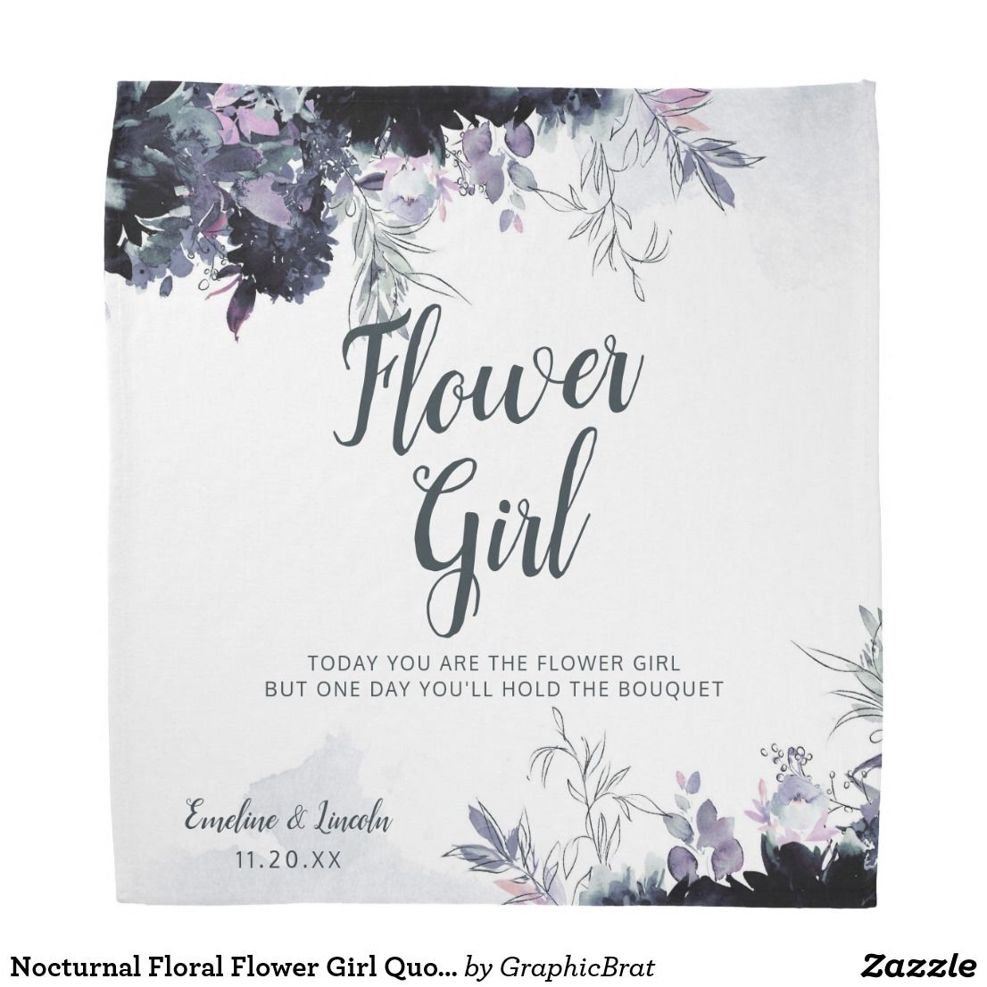 Wedding Flowers Quote: Nocturnal Floral Flower Girl Quote Handkerchief Bandana