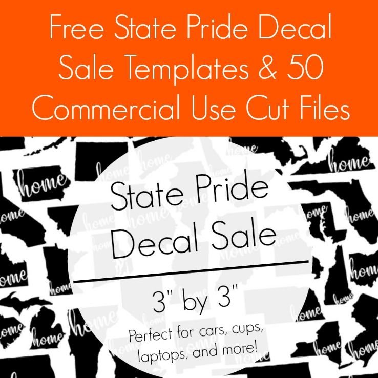 Free State Pride Decal Sale Templates & 50 Free Cut Files