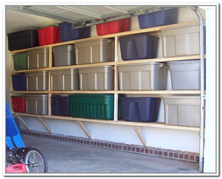 Garage Wall Storage Racks With Plastic Storage Containers On Unfinished  Wooden Racks. Click The Image