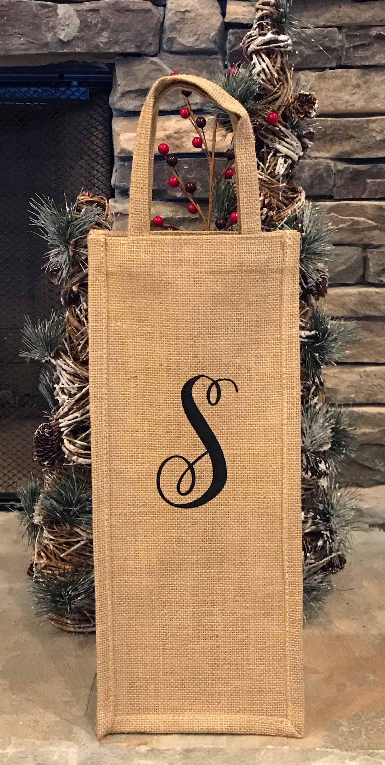 Excited To Share This Item From My Etsy Shop Personalized Burlap Wine Bottle Gift