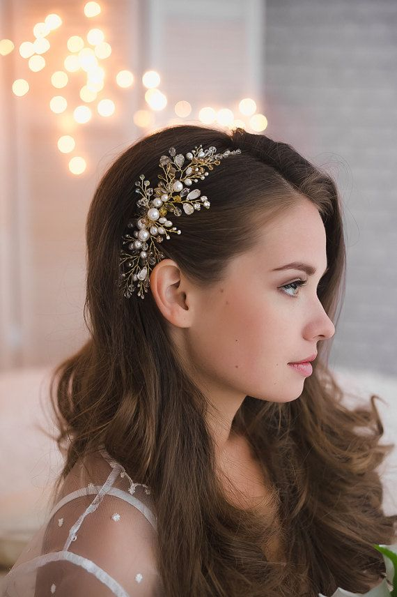 Gold Hair Comb Bridal Jeweled Headpieces Gold Pearl Rhinesone Hairpiece Elegant Bride Gold Crystal Accessories