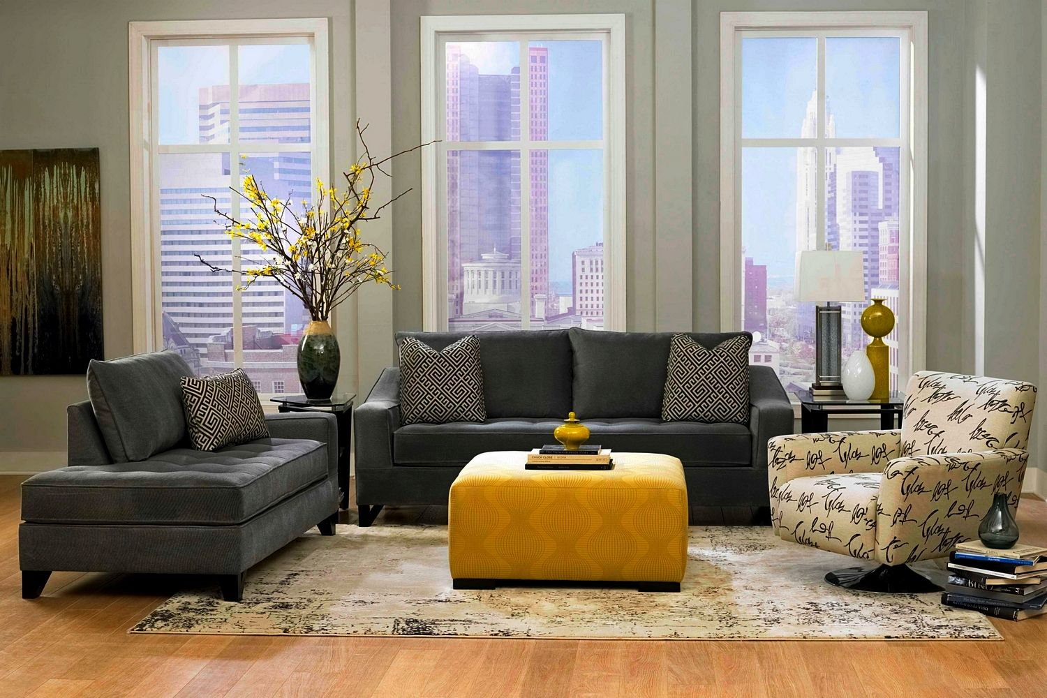 Gray Leather Sofa In Living Room With Yellow Ottoman Living Room