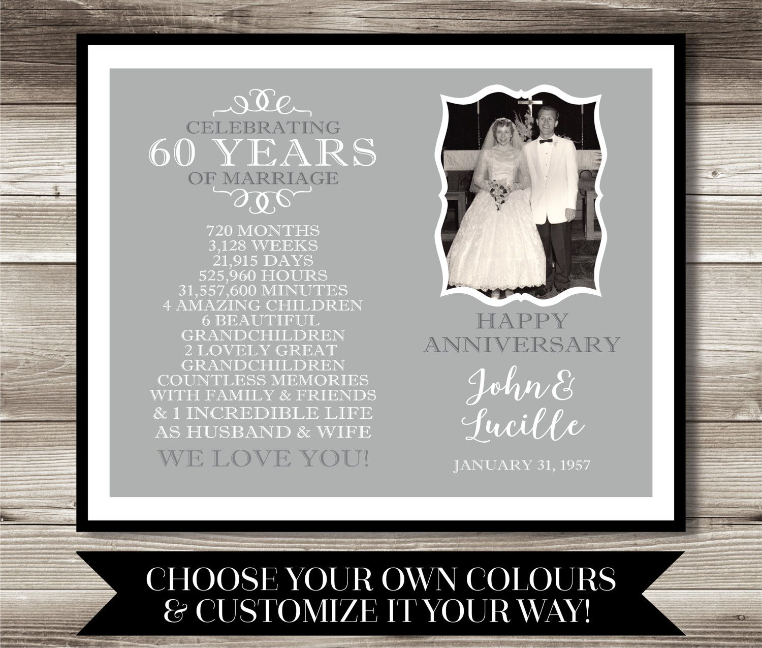 Gifts For 60th Wedding Anniversary: 60 Year Anniversary Photo Gift Digital Print 60th By