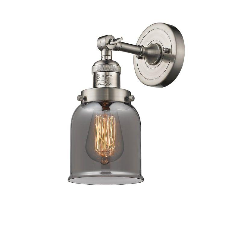 Innovations Lighting 203 Small Bell Small Bell Single Light 10 Tall Bathroom Sc Satin Brushed Nickel Smoked Indoor Lighting Bathroom Fixtures In 2020 Sconces Sconce Lighting Wall Lights