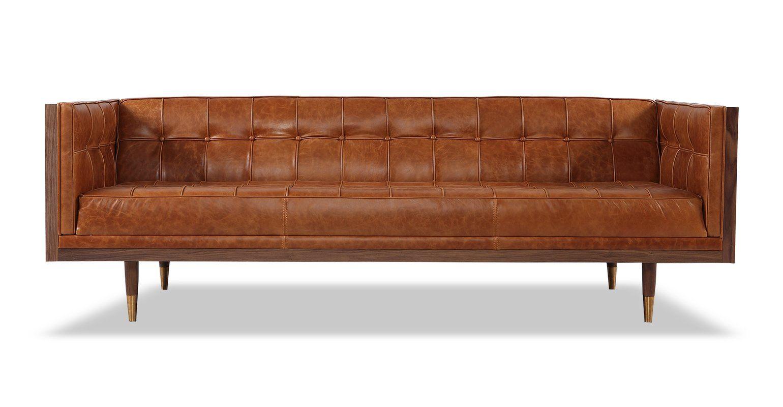 Carey Mid Century Modern Box Leather Sofa