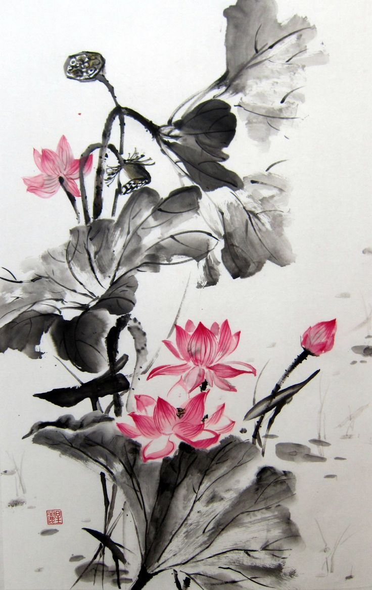 Japanese Ink Painting Rice Paper Painting Sumi E By Suibokuga