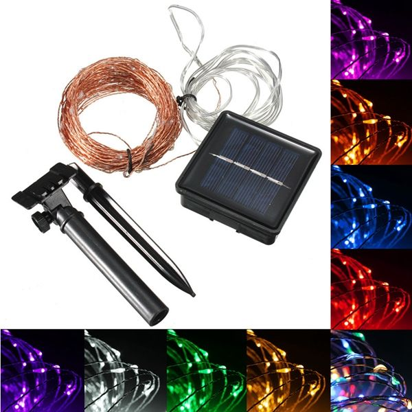 20M 200 LED Solar Powered Copper Wire String Fairy Light Xmas Party