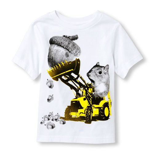 e7ee3a99cba0 s Toddler Boys Short Sleeve Squirrel Tractor Graphic Tee - White T-Shirt -  The Children s Place