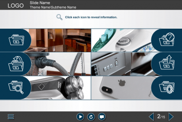 Grid Pictures With Iconic Buttons Storyline Template Elearning Templates Icon Templates