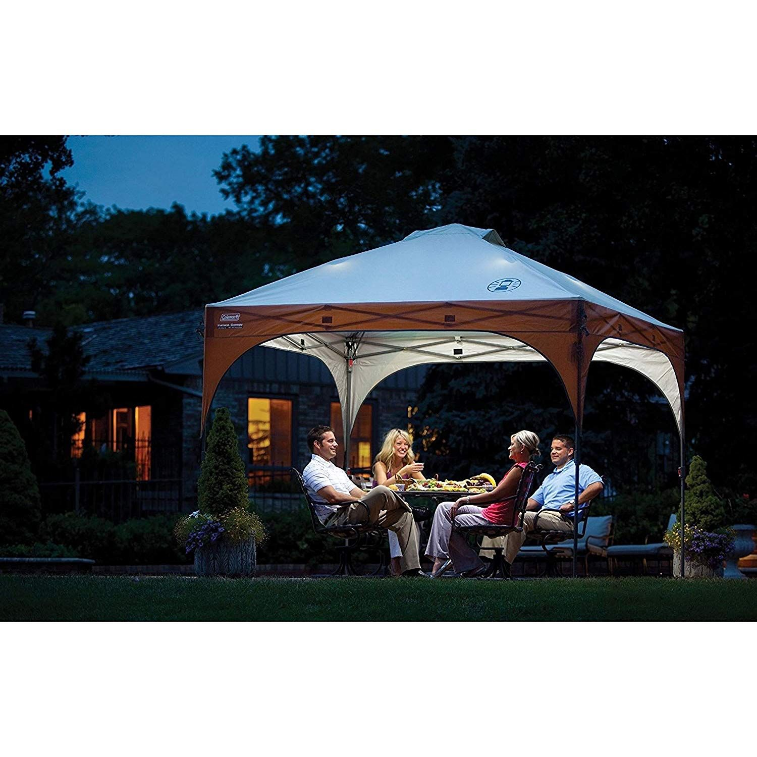 Amazon Com Coleman Instant Pop Up Canopy Tent And Sun Shelter With Led Lighting 10 X 10 Feet Sports Outdoors Canopy Outdoor Instant Canopy Gazebo