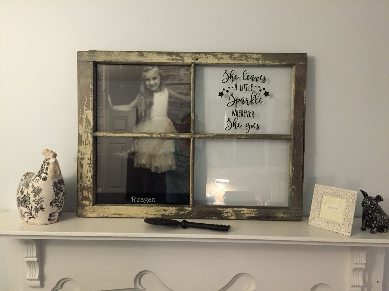 Vintage window turned picture frame. A gift for a friend