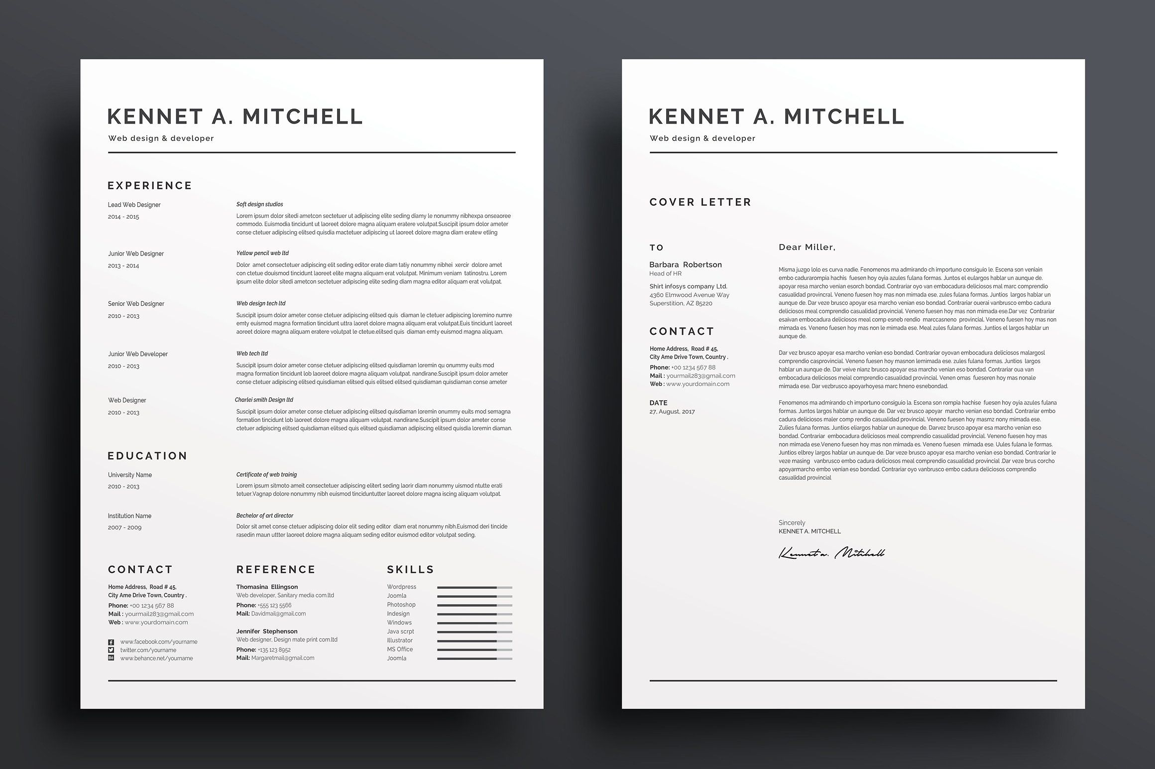 Free Professional Resume  Instant Download Resume Templates Cv