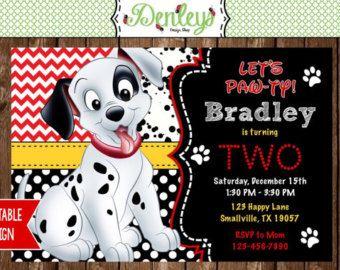 101 Dalmatians Birthday Invitation Dalmatian Party Printable