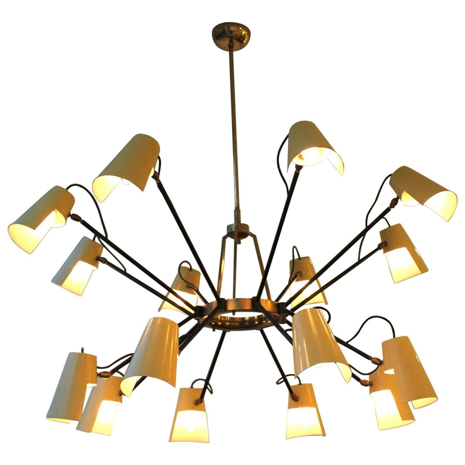 Rare Pale Yellow Chandelier by Stilnovo from 1950s