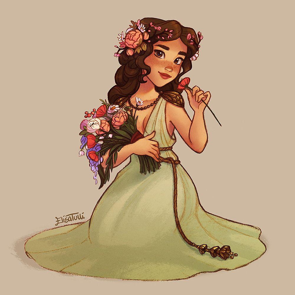 Persephone in her spring attire 🌸 | Greek goddess art ...