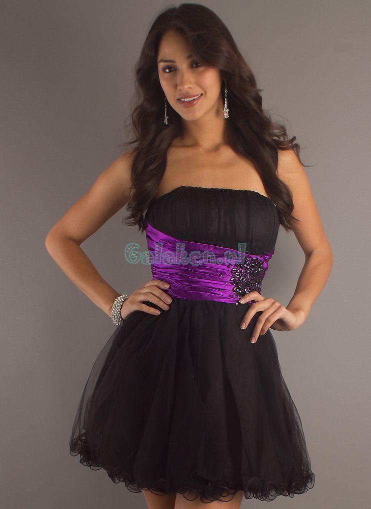 A-lijn Strapless Mini Organza Prom jurken